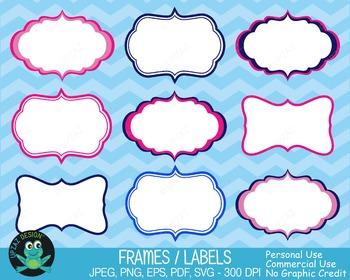 Pink Blue Frames {Upzaz Digital Clipart}