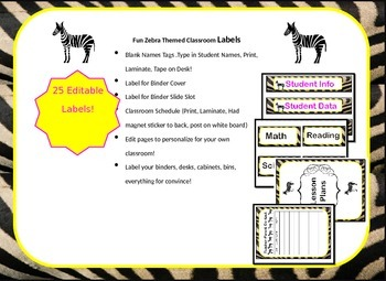 Labels Fun Classroom Zebra Labels