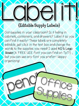 Simple Labels Teal and Gree