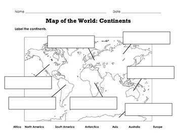 Label Map of the World: Continents, Oceans, Mountain Ranges
