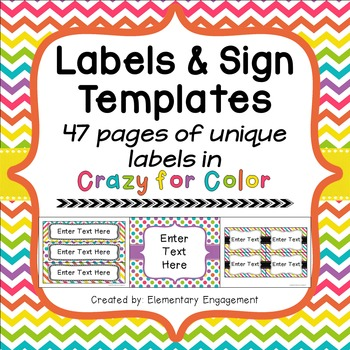 Label and Sign Templates in Colorful Chevron, Dots & Stripes