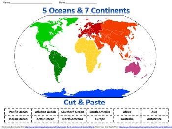Label Continents Map Printout - EnchantedLearning.com