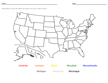 Label the States- Kentucky-Maryland (alphabetically)