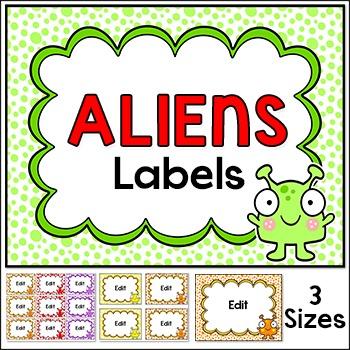 Aliens Theme Classroom Labels