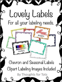 Classroom Labels, Organization, Chevron and Seasonal Borde
