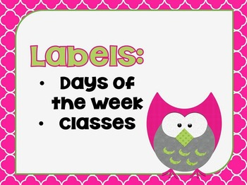 Labels:  Days of the Week and Subjects