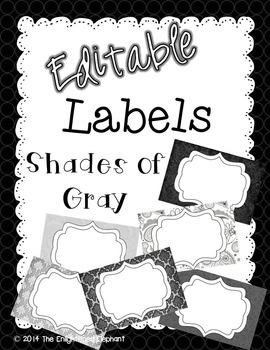 Labels Editable Shades of Gray