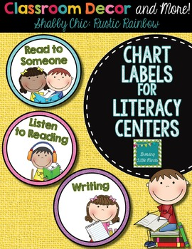 Labels- Literacy Centers- Shabby Chic Rustic Rainbow Burlap