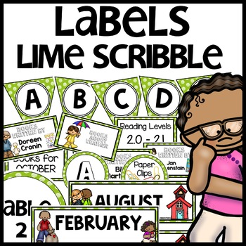 Labels MX AND MATCH (LIME Polka Dot Scribble)