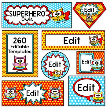 Superhero Owl Theme Labels for Classroom Jobs, Teacher Bin