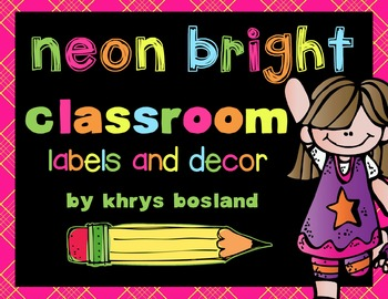 Labels and Decor {Neon Bright} {Library, Supply, and Math