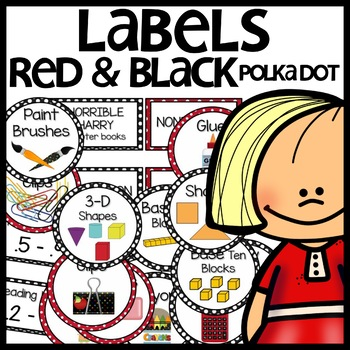 Labels (black and red polka dot themed)
