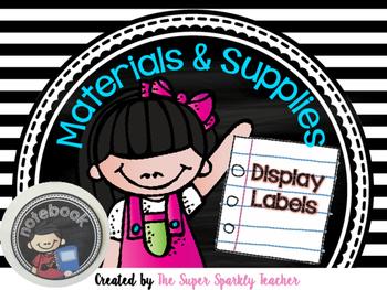 Labels for Materials & Supplies (Black set)