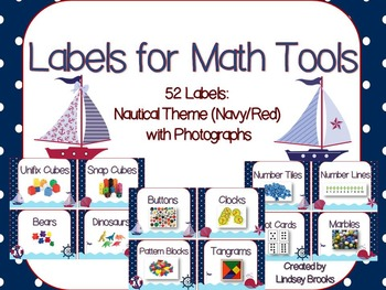 Labels for Math Tools: 52 Labels with Photographs {Nautica