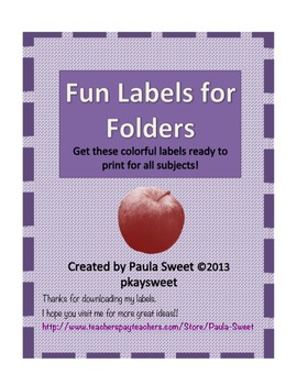 Labels for Student's Folders
