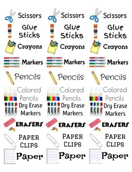 Labels for your classroom supplies- Small address label size