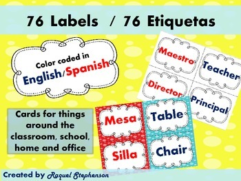 Labels in English and Spanish