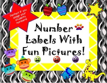 Labels with numbers 1-30 and cute pictures- assign your st