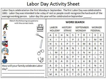 Labor Day Activity Sheet