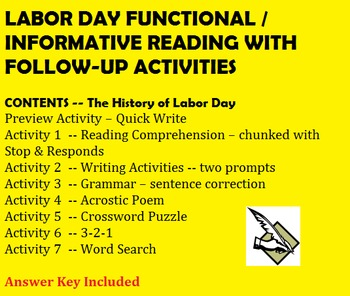 Labor Day Chunked Informational / Functional Reading with