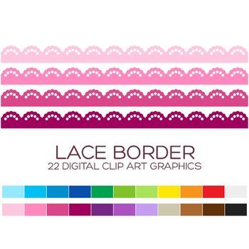 Lace Border Clipart - 22 digital lace borders / 11x1 inche