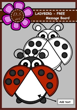 Ladybird Message Board Digital Clipart (color and black&white)
