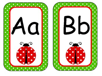 Ladybug Alphabet Wall Cards Green Polka Dot