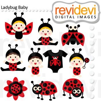 Ladybug Baby clip art (cute babies in ladybug costumes) re