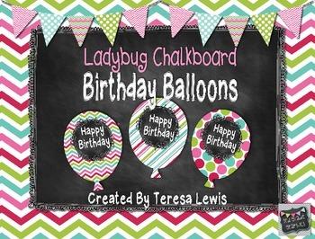 Ladybug Chalkboard Birthday Balloons FREEBIE