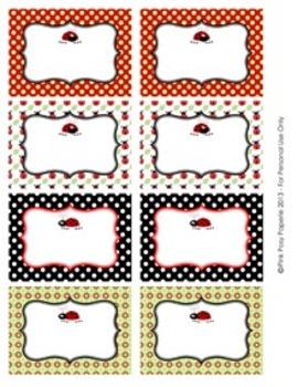 Ladybug Classroom Bin Tag Labels
