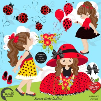Ladybug Clipart, Girl Clipart, Red and Black Ladybug Clip