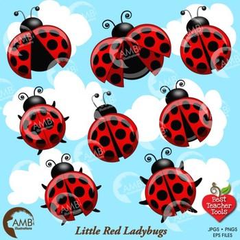 Ladybug Clipart, Red and Black Ladybug Clip Art, AMB-1056