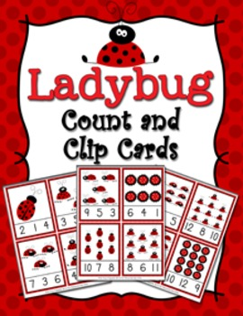 Ladybug Count and Clip Cards Numbers 1-12