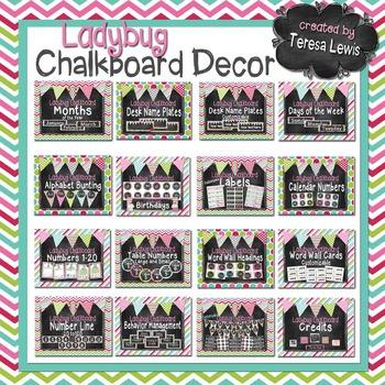 Chalkboard Classroom Decor Set (Ladybugs Optional)