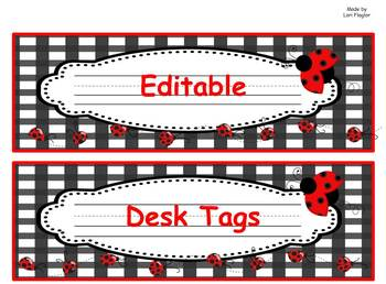 Ladybug Desk Tags- Editable