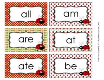 Ladybug Dolch Primer Sight Wall Words