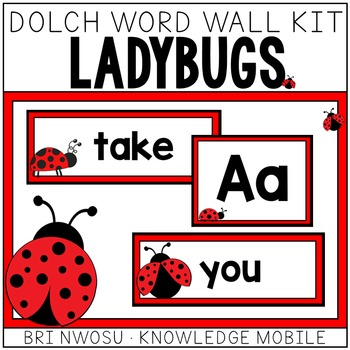 Ladybug Dolch Word Wall Kit - 220 Cards, Labels, & Banners