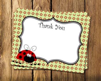 Ladybug Flat Thank You Note Cards