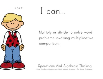 Ladybug Kids Theme 4th grade math Common Core Posters four