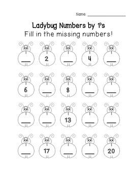 FREEBIE! Ladybug Math: Fill in the Missing Numbers {skip c