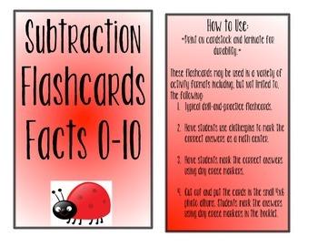Ladybug Subtraction Flashcards- Facts 0-10