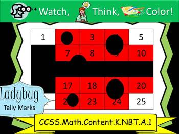 Ladybug Tally Marks - Beginning Watch, Think, Color! CCSS.