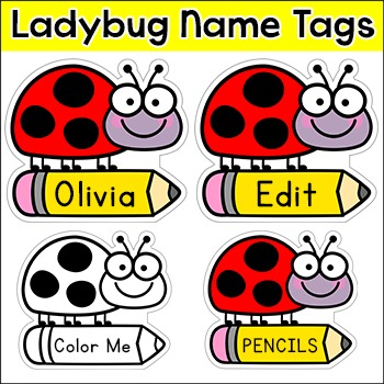 Ladybug Name Tags & Labels - Ladybird Theme Decor