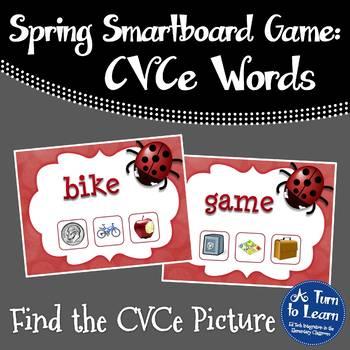 Ladybug Themed CVCe Words Game for Smartboard or Promethea