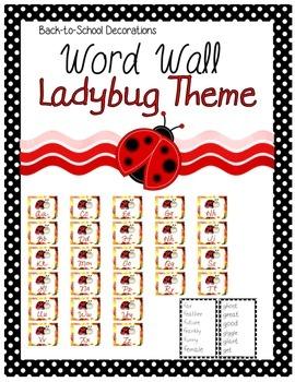 Ladybug Themed Editable Word Wall