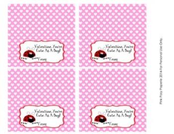 Ladybug Valentine Large Treat Bag Toppers