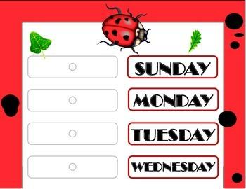 Ladybug Weekday Chart! Ladybug Bulletin Board! Ladybug The