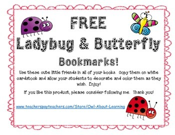 "Ladybug and Butterfly ""Don't Bug Me!"" Springtime Bookmarks"
