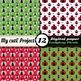 Ladybug picnic DIGITAL PAPER - Red ladybug, hearts, polka