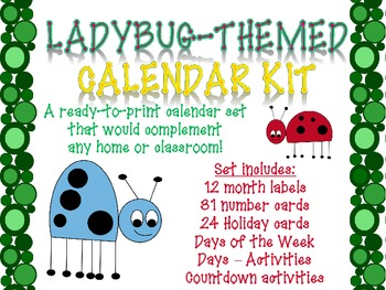 Ladybug-themed Printable Calendar Set